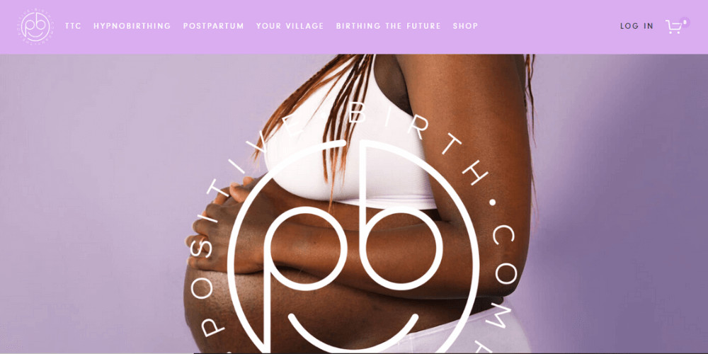 Mother to be  Screenshot from the website with a pregnant woman and the logo of Positive Birth Company
