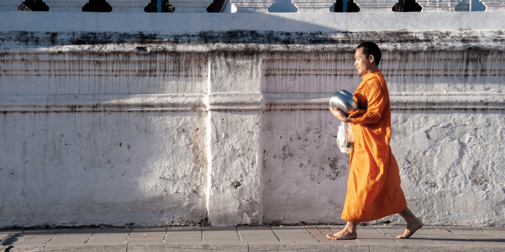 monk walking  the vow of silence